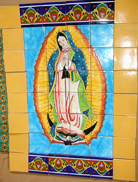 Mex Talavera tile Mural - Guadalupe large