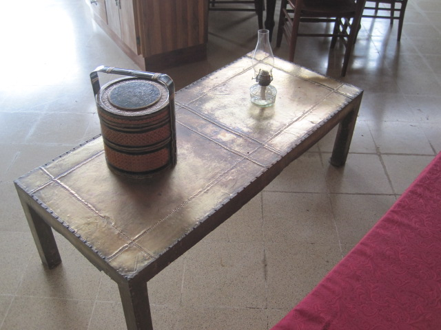 Beaten tin covered wooden table - India