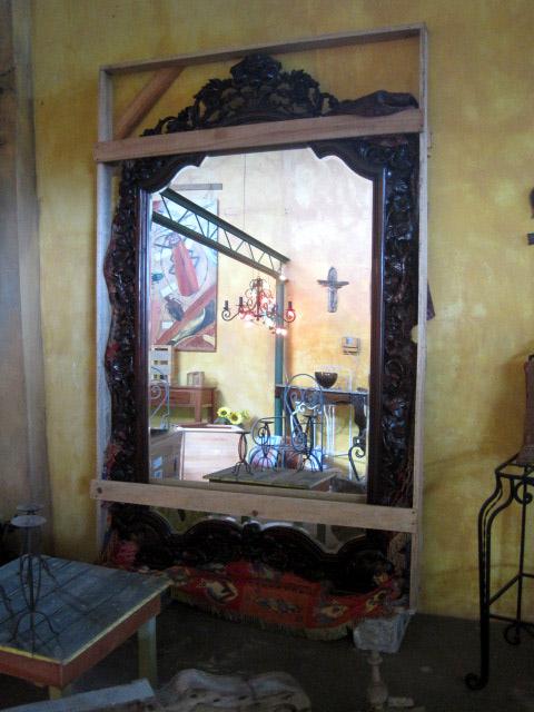 Giant Entryway Carved Mahogany Mirror