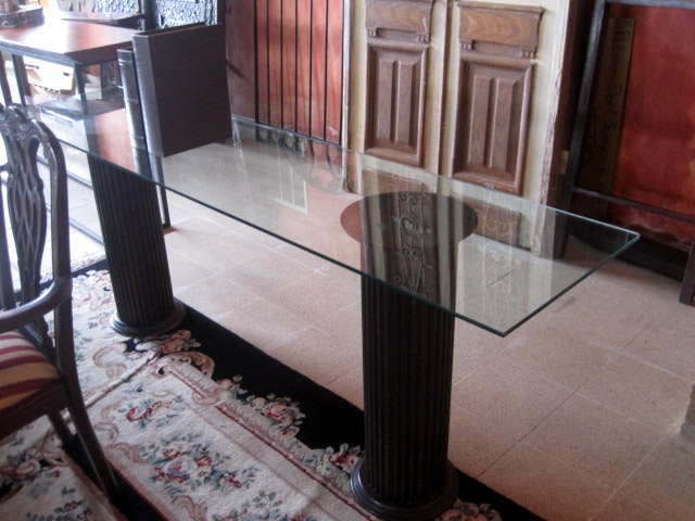 2 column entry table with heavy glass top