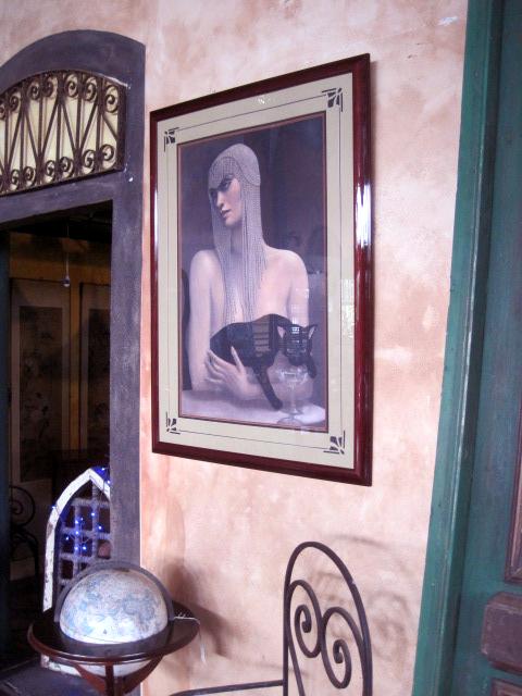 Deco  Poster in walnut frame under glass