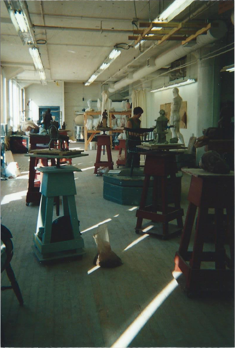 Sculpture class in the old building- what is now the Convention Center
