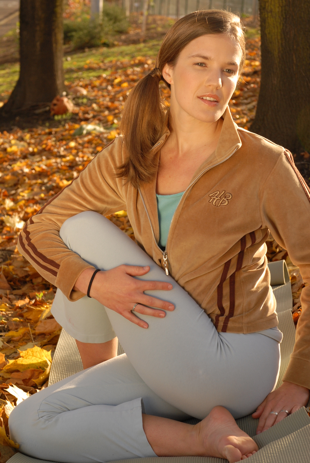 Yes, I always practice yoga on a steep hillside, wearing a velour sweater and side pony tail.