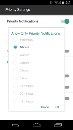 This menu is just like the current design. As soon as you choose to activate priority settings it asks you for how long.