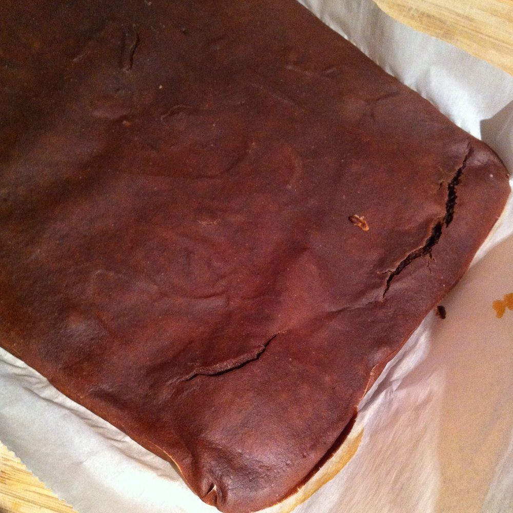 Chocolate crust ready to flip over