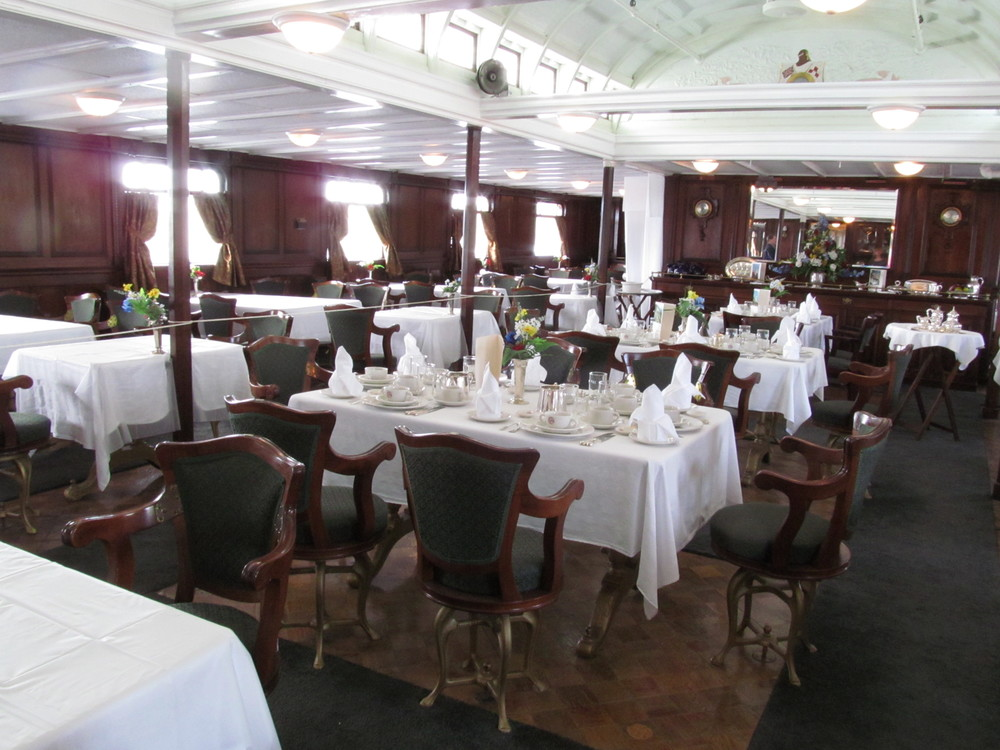 Dinning Room on the SS Keewatin. Notice the chairs and tables are bolted to the floor.