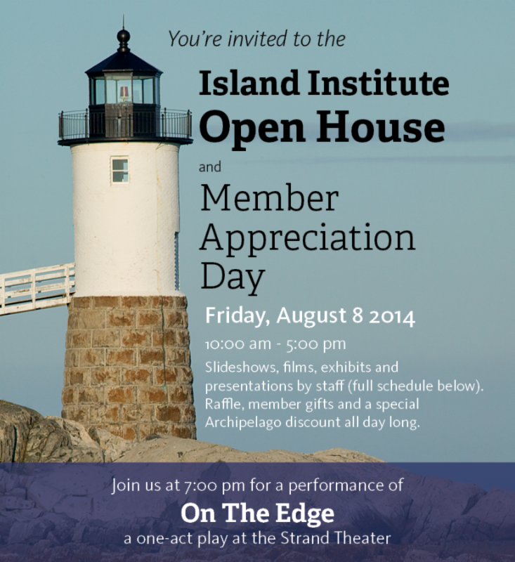 1:00 pm   : A  Musical   History  of  Swan's   Island , a presentation by former  Island  fellow  Meghan Vigeant , will feature songs, stories and photos from the  Swan's   Island  Memory Project.     2:00 pm   : Learn about one of our elementary education programs, the  Outer Islands Teaching and Learning Collaborative  (and hear from the students!) with staff member and former Monhegan Island teacher Jessie Campbell.         3:00 - 5:00 pm   : View portraits and hear stories and memories recorded from Maine fishermen by our friends at the Maine Coast Fishermen's Association in a project co-sponsored by the  Island  Institute.     4:00 pm   : Energy Associate Brooks Winner will talk about  island  energy challenges and demonstrate a few tricks and tools for weatherization and energy efficiency on islands.