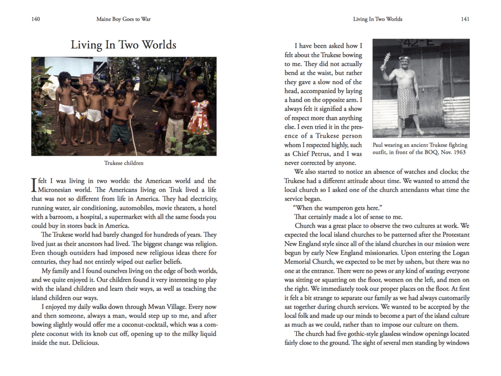 Pages from Paul Marshall's book Maine Boy Goes to War: and the Story of Mizpah.