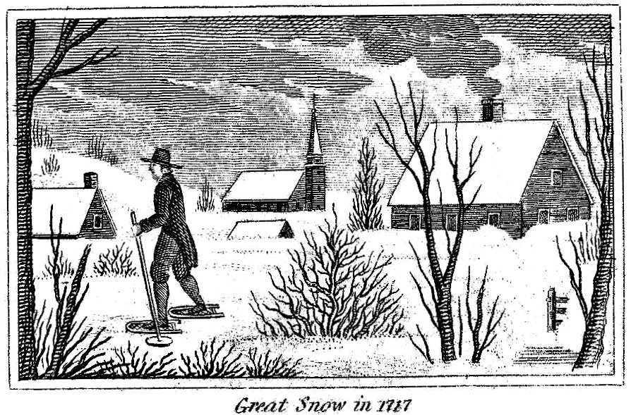 The Great Snow of 1717 - Source: John W. Barber, Historical Scenes in the United States, New Haven: Monson and Co., 1827, p.30.