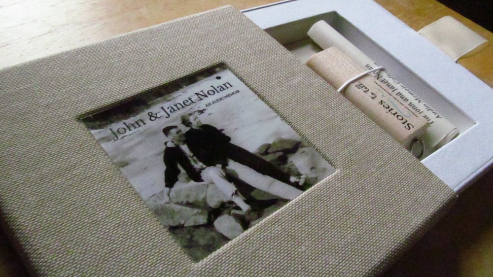 Audio Memoir on USB in custom linen case.
