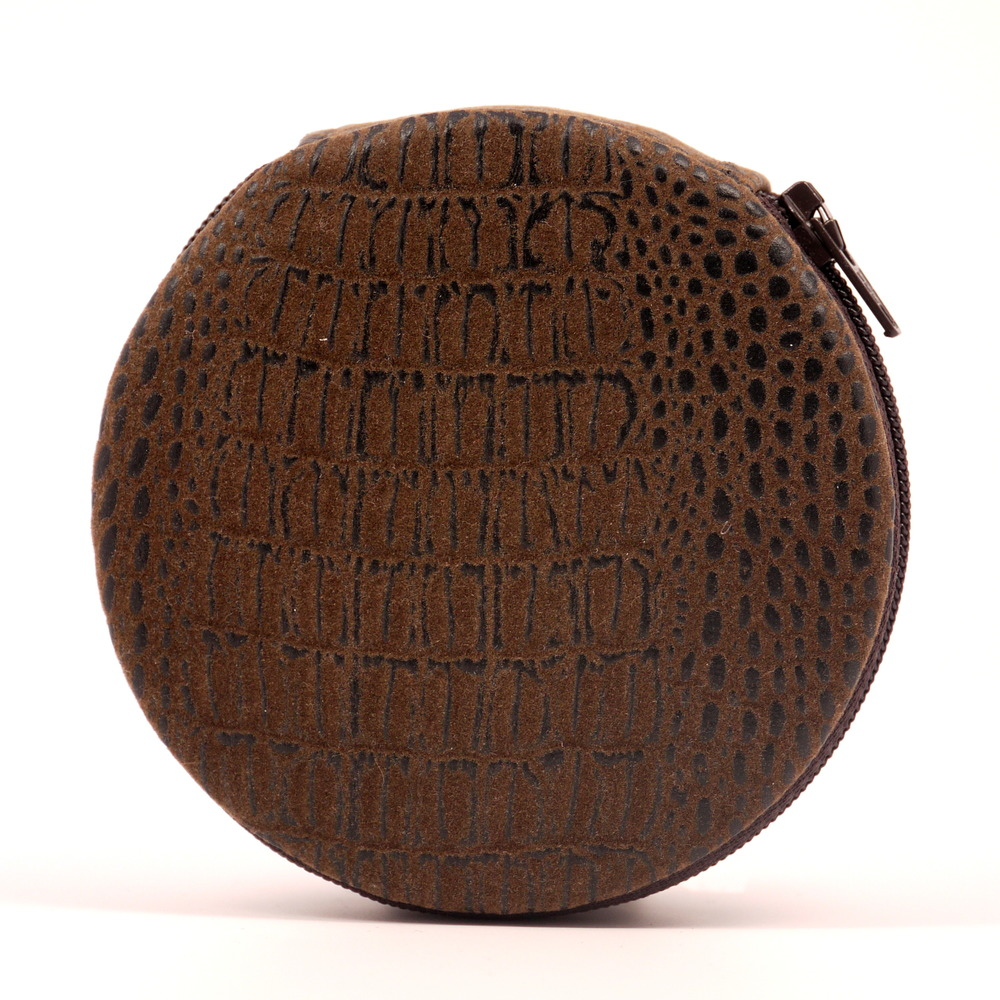 Brown Croc Print Pill Case