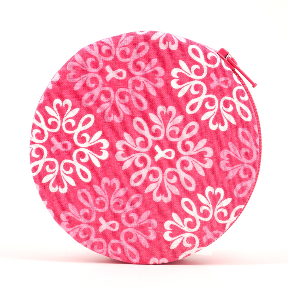 Pink Ribbon Round Fabric Pill Case