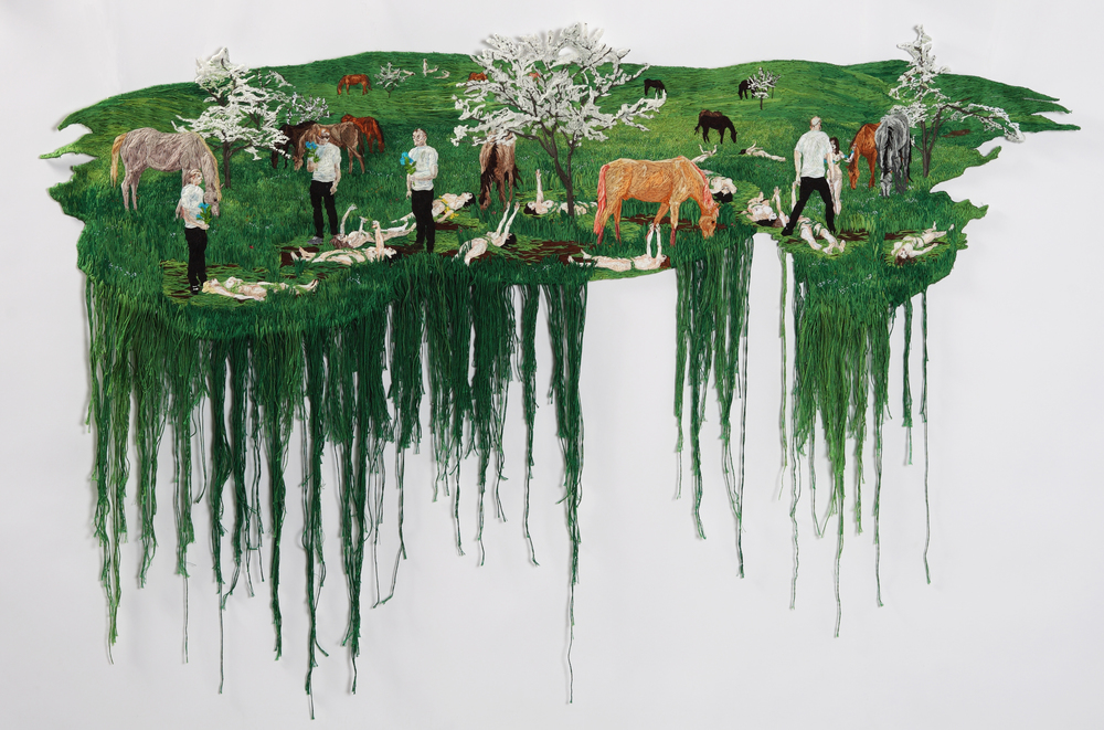 Still Burning , 2012, Embroidery Thread and Fabric, 33 x 48 in