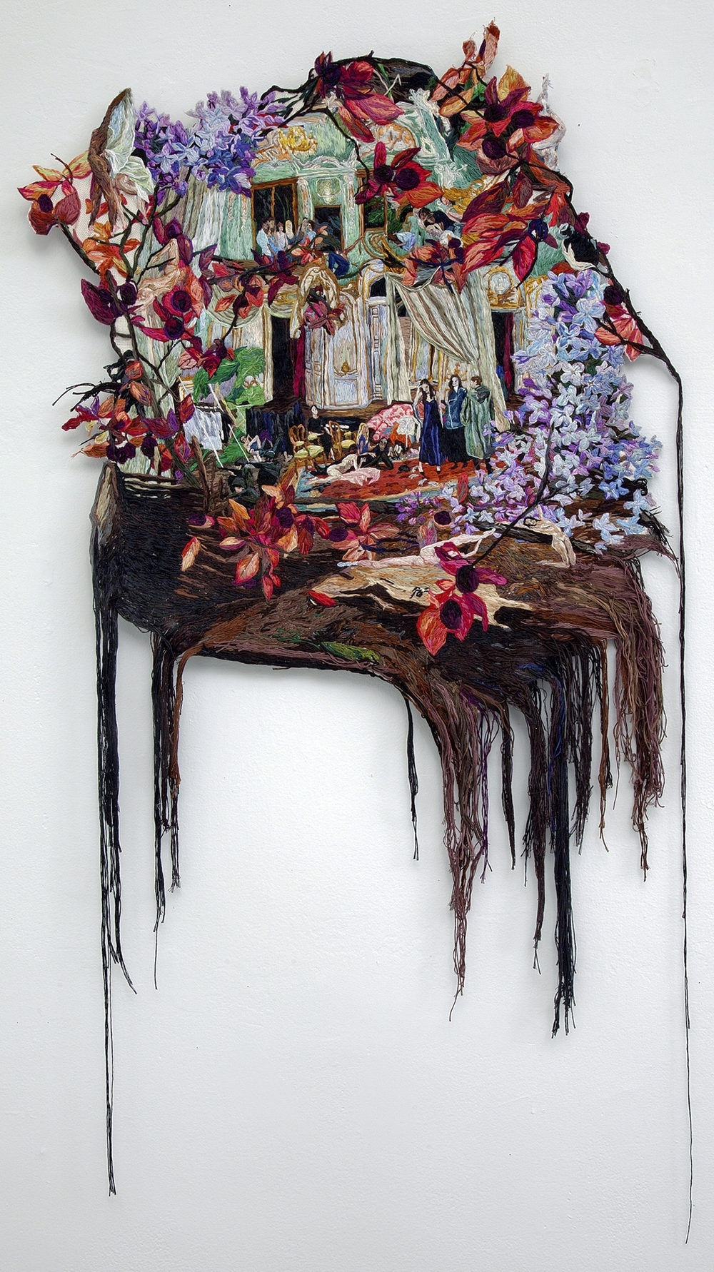 The Serious Side of Three Dreams , 2014, Embroidery Thread and Fabric, 25 x 52 in