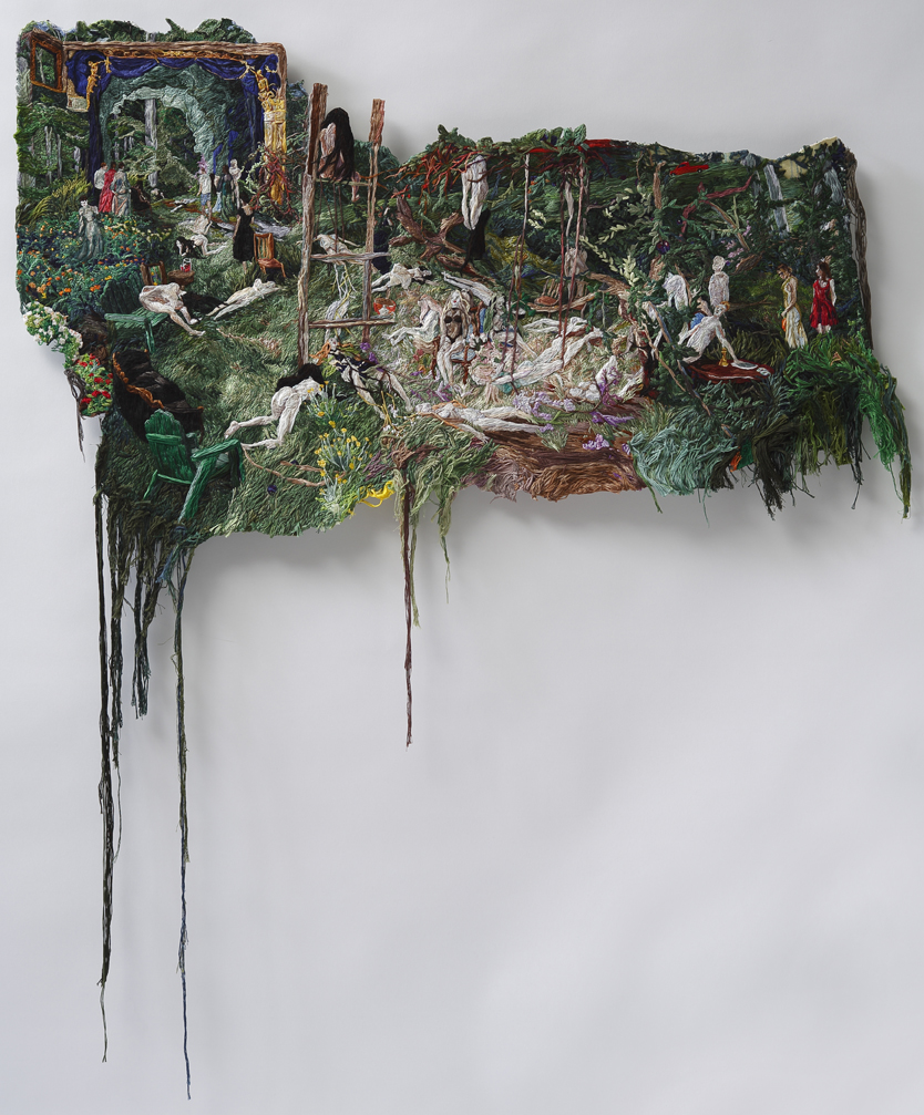 An Origin of Dolls , 2013-14, Embroidery Thread and Fabric