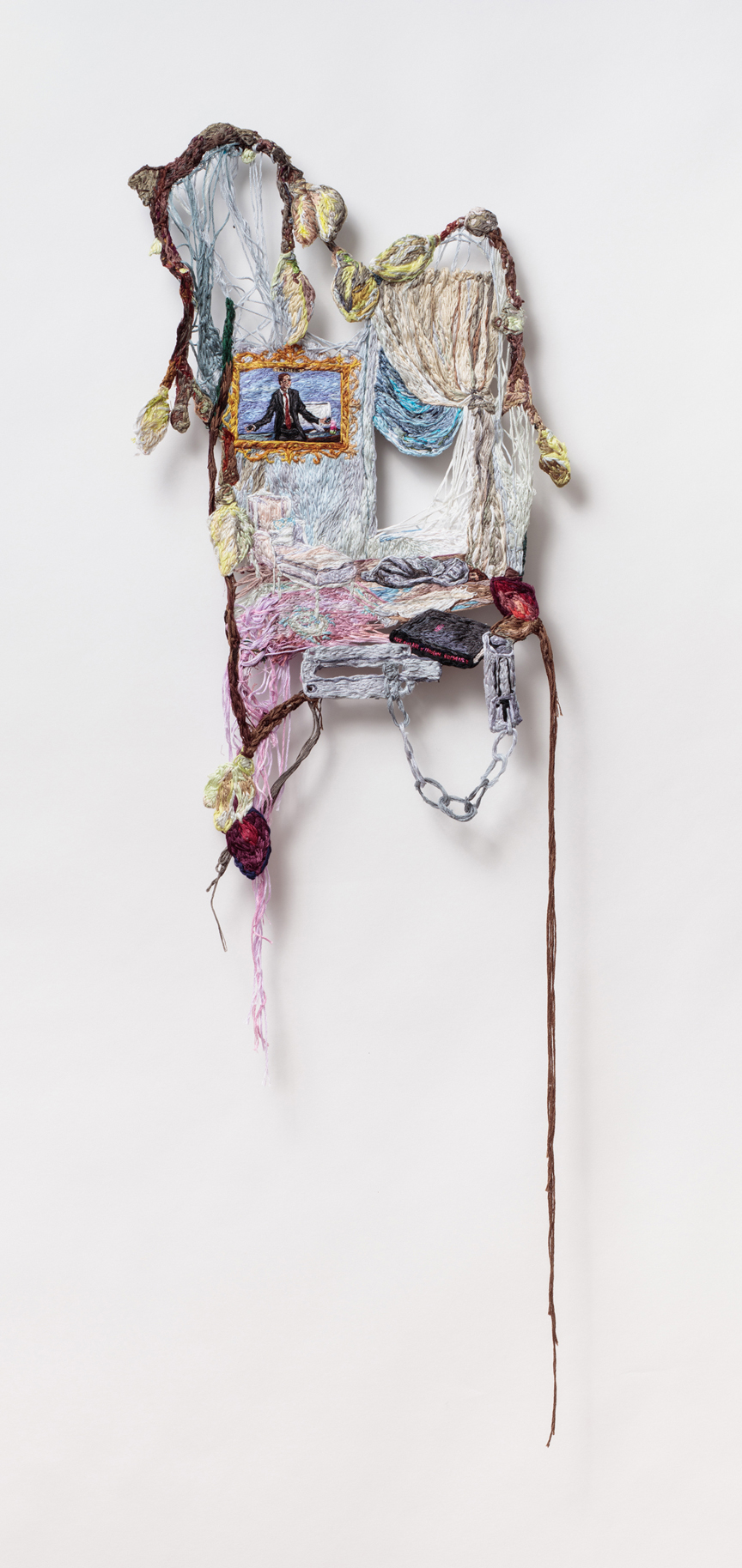 I Can't Stop Crying Except Sometimes When I Think About Ari Gold  , 2016, Embroidery Thread and Fabric, 34 x 12 in