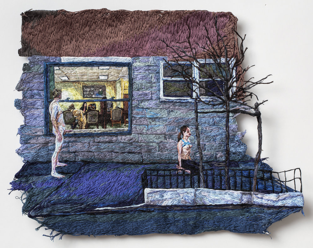 Mean  , 2016, Embroidery Thread, Fabric, Aluminum, 12.75 x 17 in