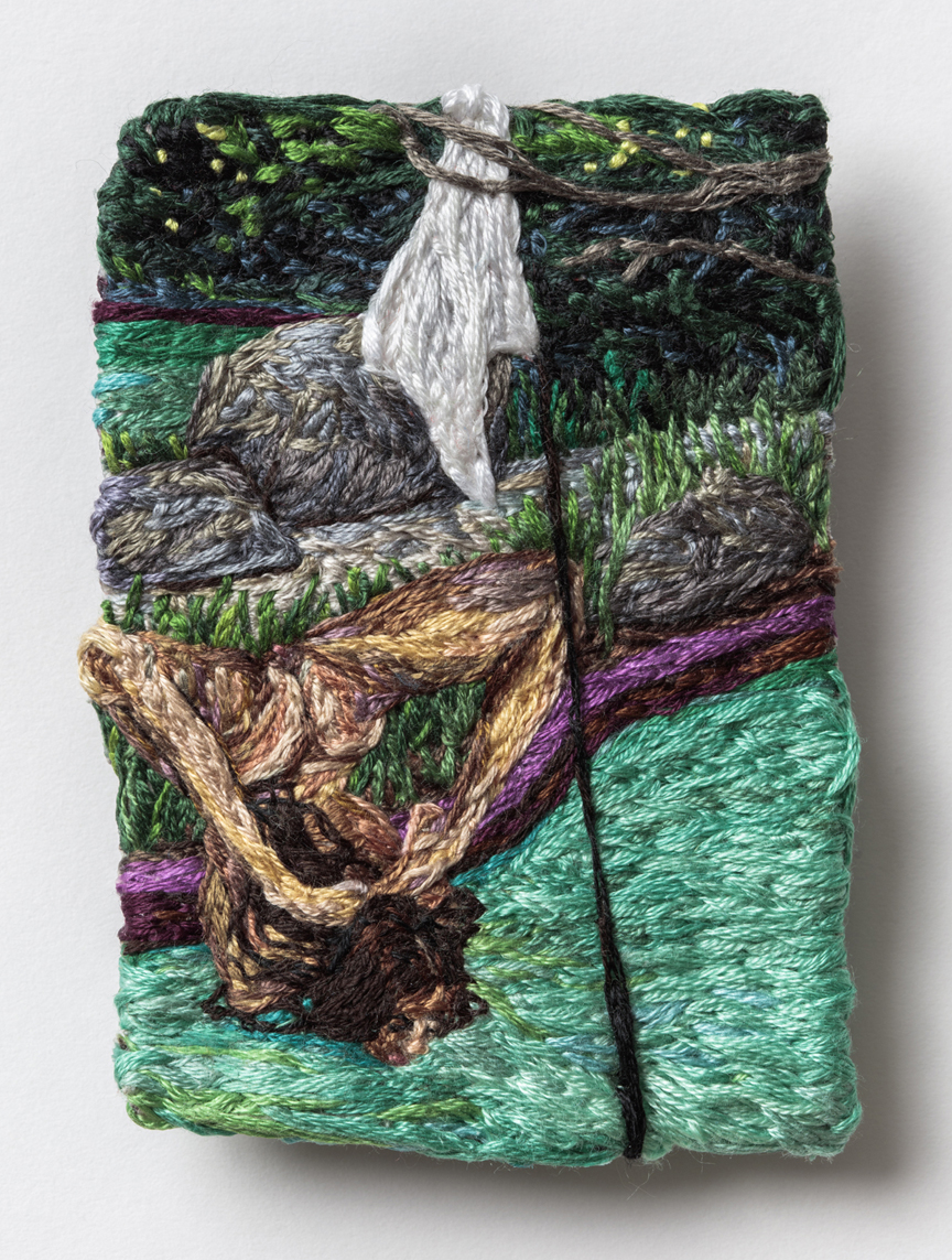 Card Two: Wander  , 2016, Embroidery Thread and Fabric, 3.5 x 2.5 in