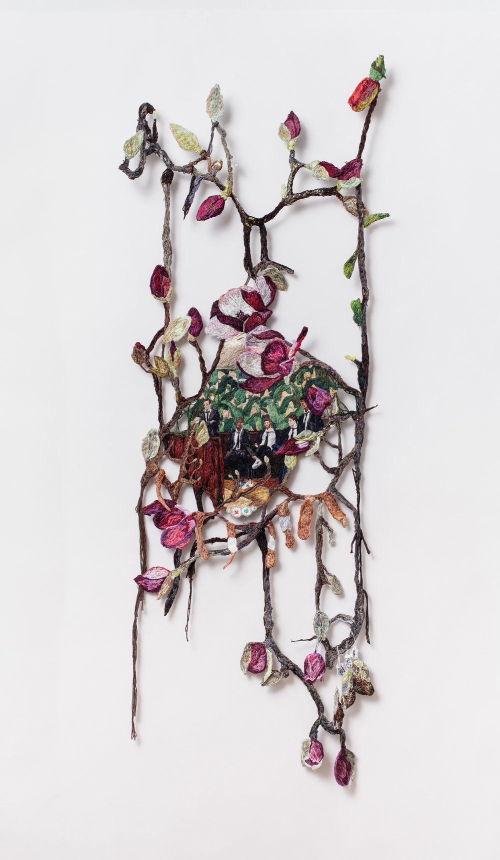 Self Care  , 2016, Embroidery Thread and Fabric, 46 x 16 in