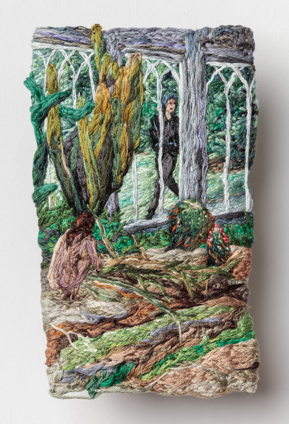 Hide and Seek , Sophia Narrett, 2016, Embroidery Thread and Fabric, 4.75 x 3.1 in_