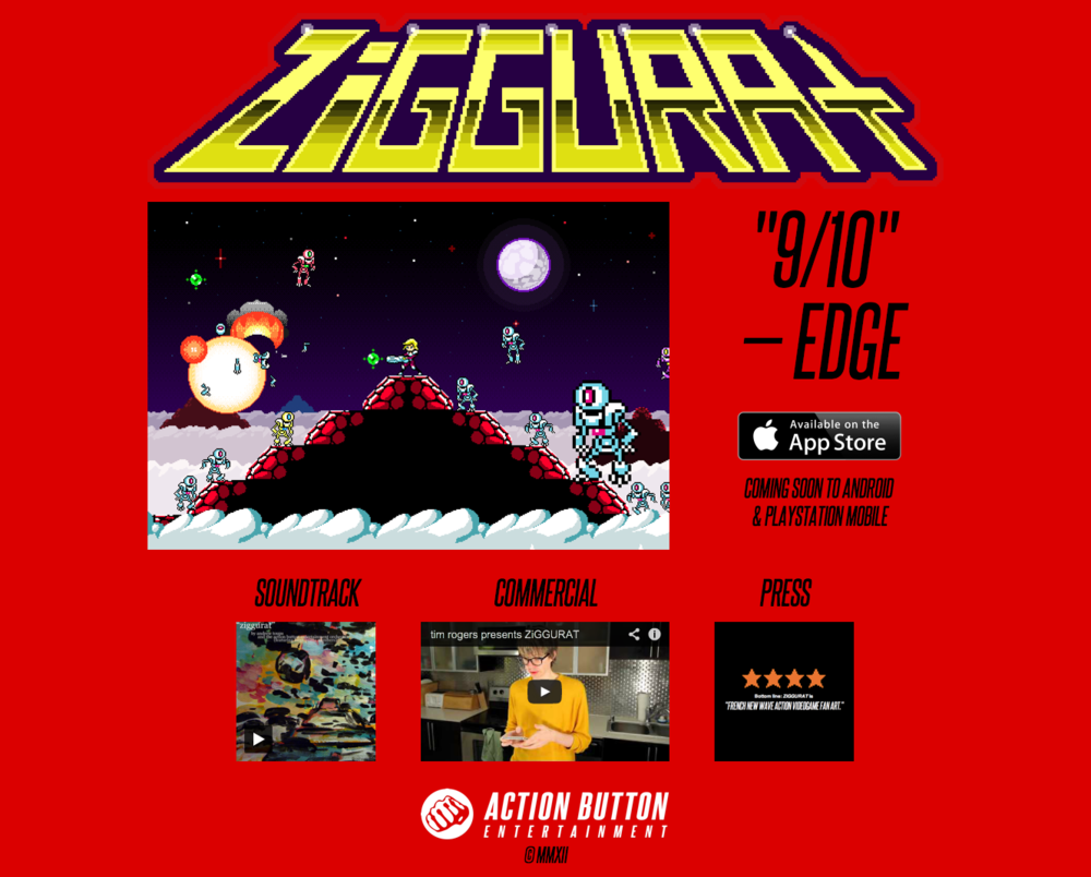 Screenshot of my re-design of zggrt.com, from desktop Safari. I really wanted to give the game's art prominence, let it speak for itself. A great screenshot, one great review, a link to the App Store, and all the tertiary links for the game (Soundtrack, Commercial, additional Press). Nice, clean, no wasted time.