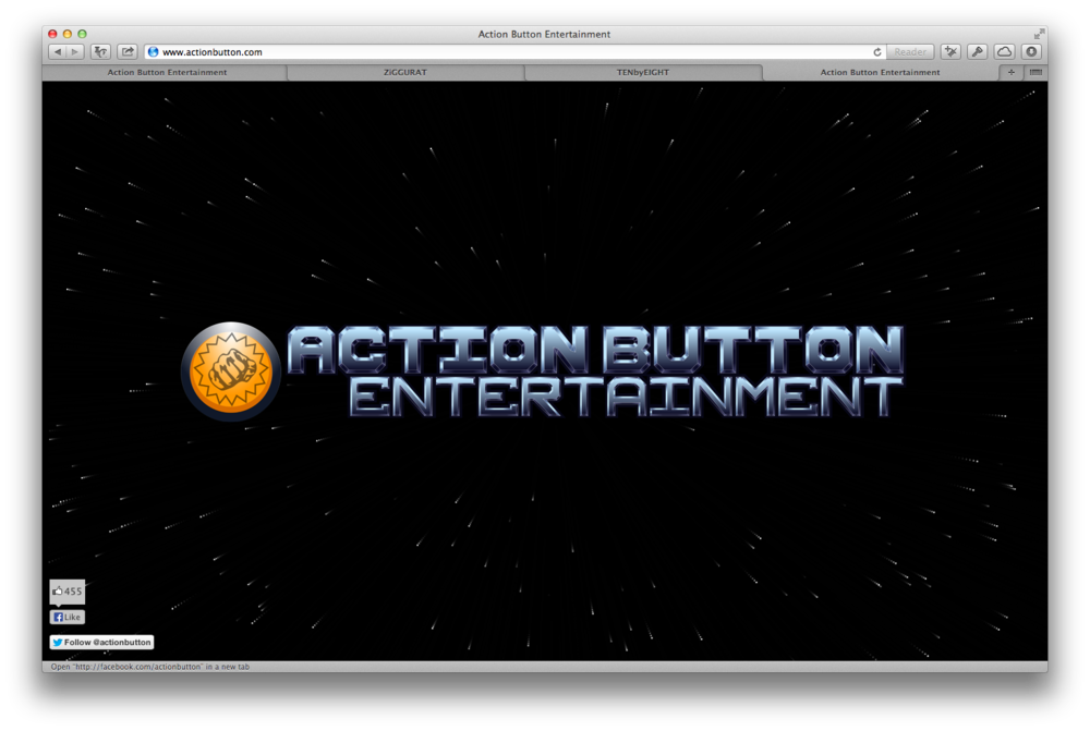Original design of actionbutton.com. I like this design a lot, and originally set out to simply add the logos of the games, and links to the app stores. After starting the project, however, the company decide to re-brand, and we did a lot of work morphing the original design into something much more lively.