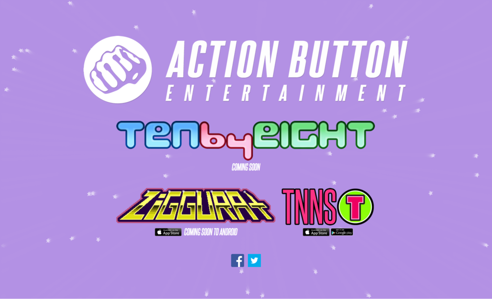 This is a full-length screenshot of the desktop view of actionbutton.com. I re-worked the javascript generating the star field, and set all the game logos in a responsive grid to re-flow based on the page's width.