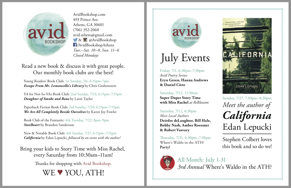 Avid Bookshop Event Card    Illustrator   Each month, I design a small double-sided card with information about Avid Bookshop's upcoming events. These are printed at Bel-Jean, and given to customers at checkout.