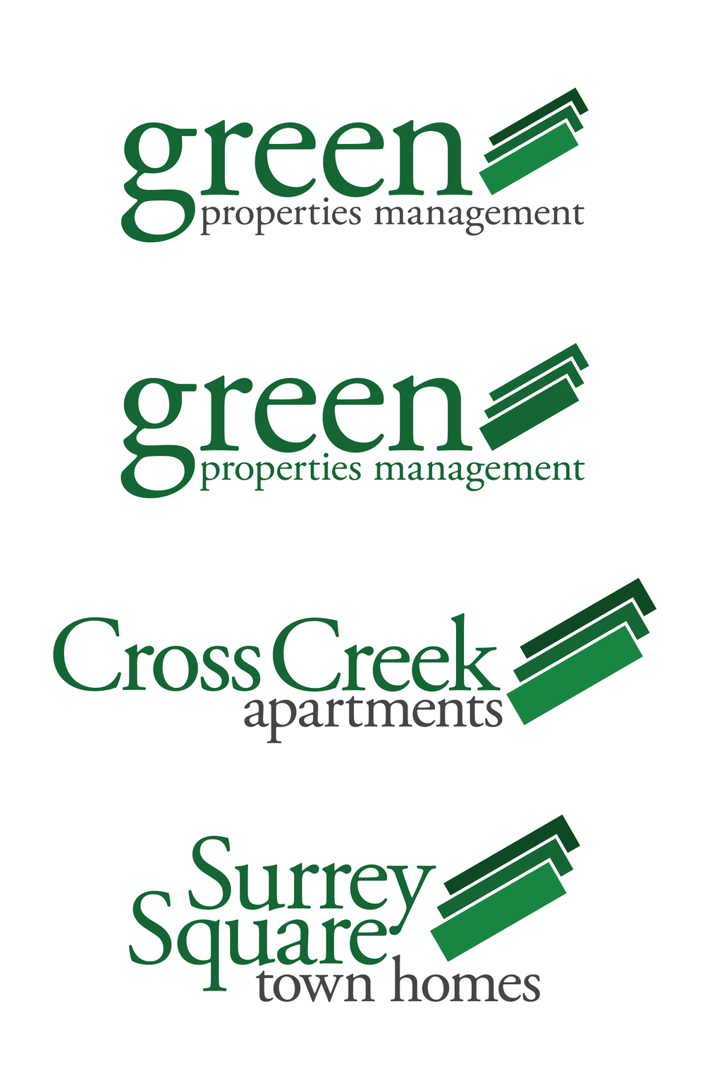 Brand & Logo Treatment - Green Properties    Illustrator   One of the first things I did for Green Properties was to create a new brand identity for the company and its properties. The parent company owns and manages two properties (Cross Creek Apartments and Surrey Square Town Homes).  I started with the Green Properties logo, including the 3-rectangle emblem, inspired partly by Lincoln Logs roof shingle blocks, and intended to show a company that is well-organized and precise. It was an intuitive, simple design, but one that lent itself well to a variety of interesting marketing materials based on the same angled blocks.  I then developed the property-specific logos as variations on the theme, with a recognizably consistent type, but their own overall shapes. We wanted people to understand that these properties belonged together, but to maintain separate identities and ensure recognition of the signs from the street.  This brand has been in use for over 4 years, and has been well-suited to the business and properties.   More information and images about my time at Green Properties .
