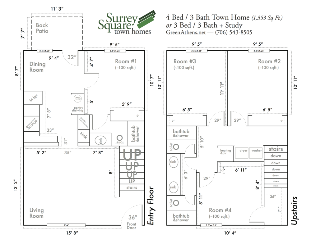 Floor Plan - Green Properties    Illustrator   One of many designs based on customer needs. One of the most frequent requests from potential renters is for detailed measurements of their rooms, so that they can plan for furniture. Based on an old, low-resolution sketch of the basic floor plans, I took detailed measurements of each wall segment, re-drew the layouts in Illustrator, and labeled everything as clearly and usefully as possible. The drawings include light touches of fun, which were often pointed out by the college-age residents of the apartments as something they appreciated.  I put a lot of effort into anticipating and pre-emptively providing for residents' needs during my tenure at Green Properties, and this was just one small part of that ongoing work.   More information and images about my time at Green Properties .