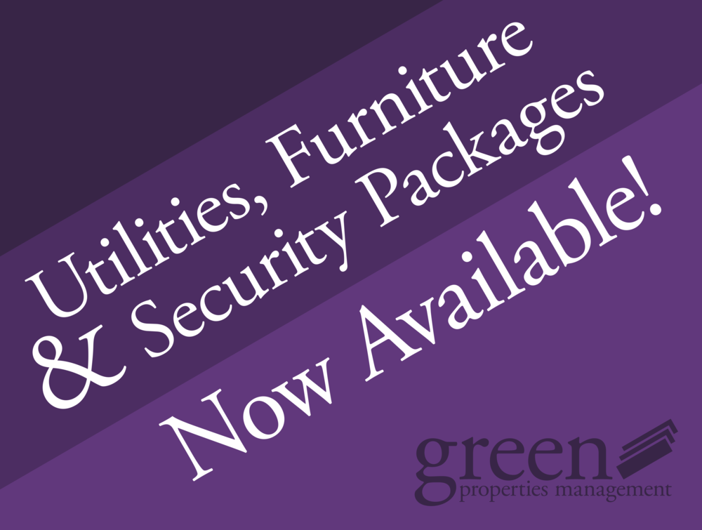Purple Curbside Sign - Green Properties    Illustrator   One variation of the previous sign. Offering the option of additional services such as office-managed utilities, furniture, and security systems was a big draw at Green Properties.   More information and images about my time at Green Properties .