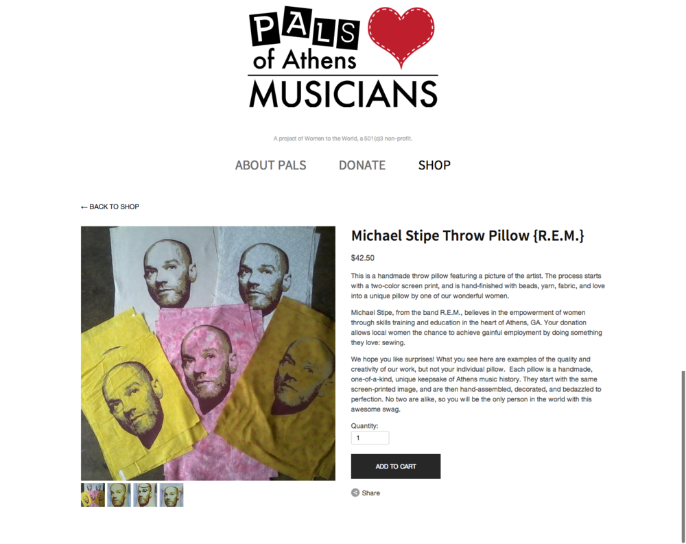 PALS Michael Stipe Throw Pillow  R.E.M.  — PALS of Athens Musicians.png