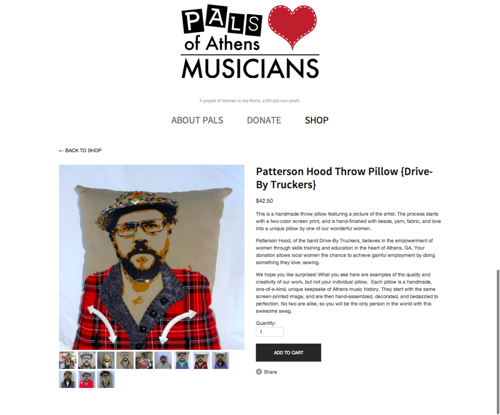 PALS Patterson Hood Throw Pillow  Drive By Truckers  — PALS of Athens Musicians.png