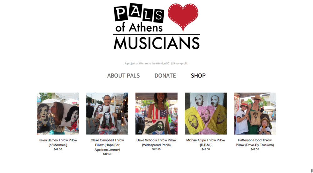 Web and Print Design - PALS of Athens Musicians    Illustrator + Web   After designing the logo and preparing silkscreen images for their products, I put together this simple-but-effective web site to promote the organization and sell their goods.   More information and pictures here .