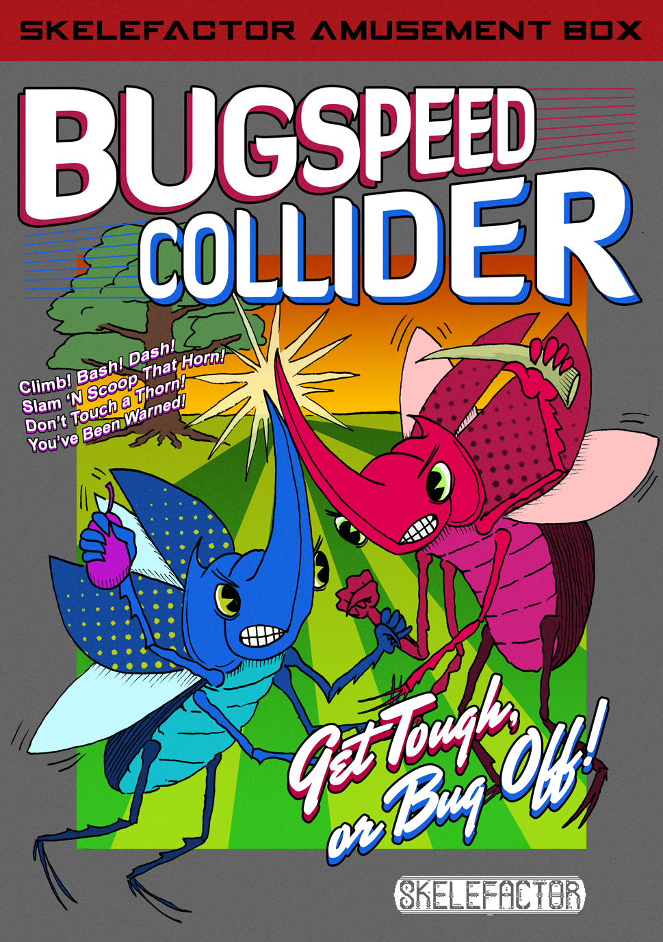 Bugspeed Collider Box Art    Photoshop   Part of the  Bugspeed Collider  project for  Skelefactor Games . Illustrated and inked by Brent Blalock, I did the colors, text, and final design.