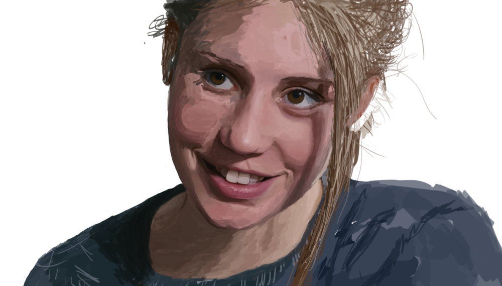 """It's Obvious"" (Work In Progress)    Wacom + Photoshop   Over the summer of 2014, I developed a new technique for painting photo-realistically in Photoshop. This is a portrait in progress, at around 30 hours of work."
