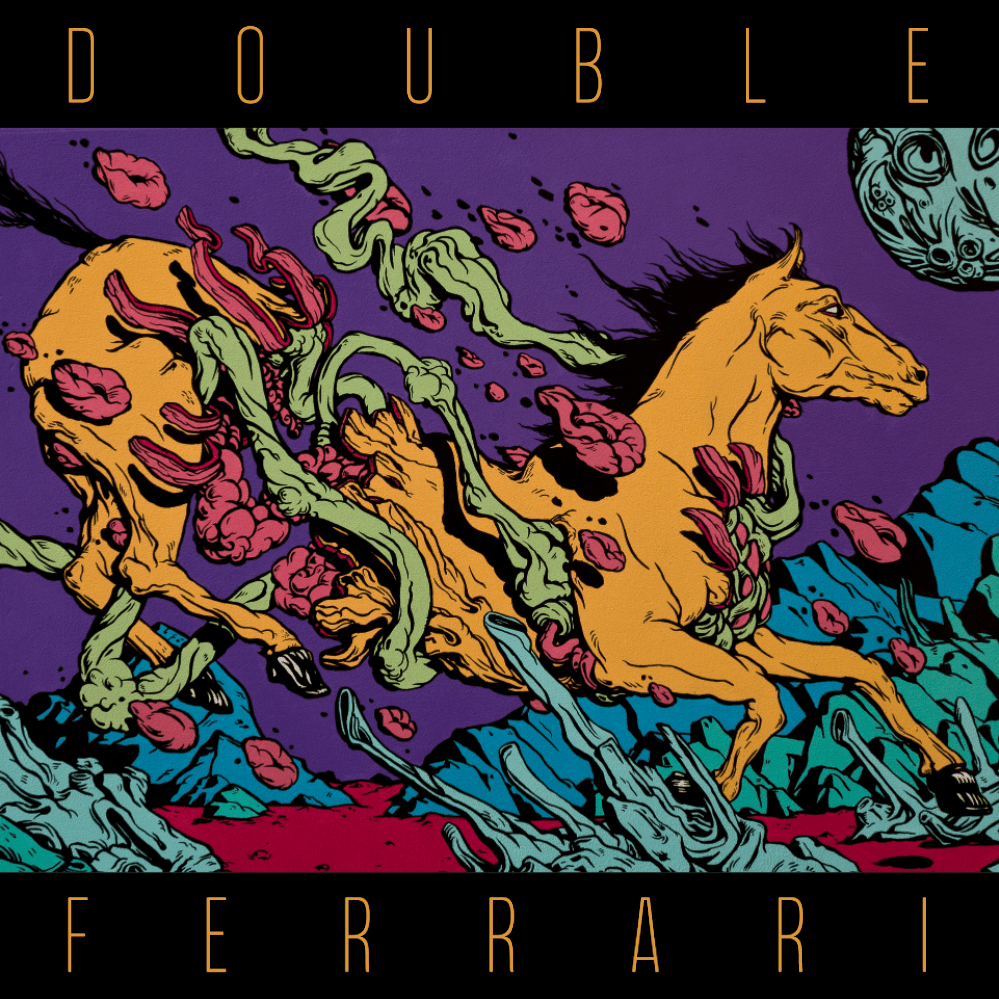 Double Ferrari  Vinyl Layout, Site Animation & Development    Pug, Stylus, Anime.js, Parallax.js, CSS Animation, Javascript, Photoshop, Illustrator.   Art by David Hoskins. I laid out the full vinyl packaging for Double Ferrari's self-titled debut album, including sleeve, liner notes, and side labels. Then I took the cover art, separated it into layers of color, and made a promotional website at  doubleferrari.com  that moves in relation to mouse movement or device tilt. I'm so proud of this project!  Winter–Summer 2017.  View the  live site here .