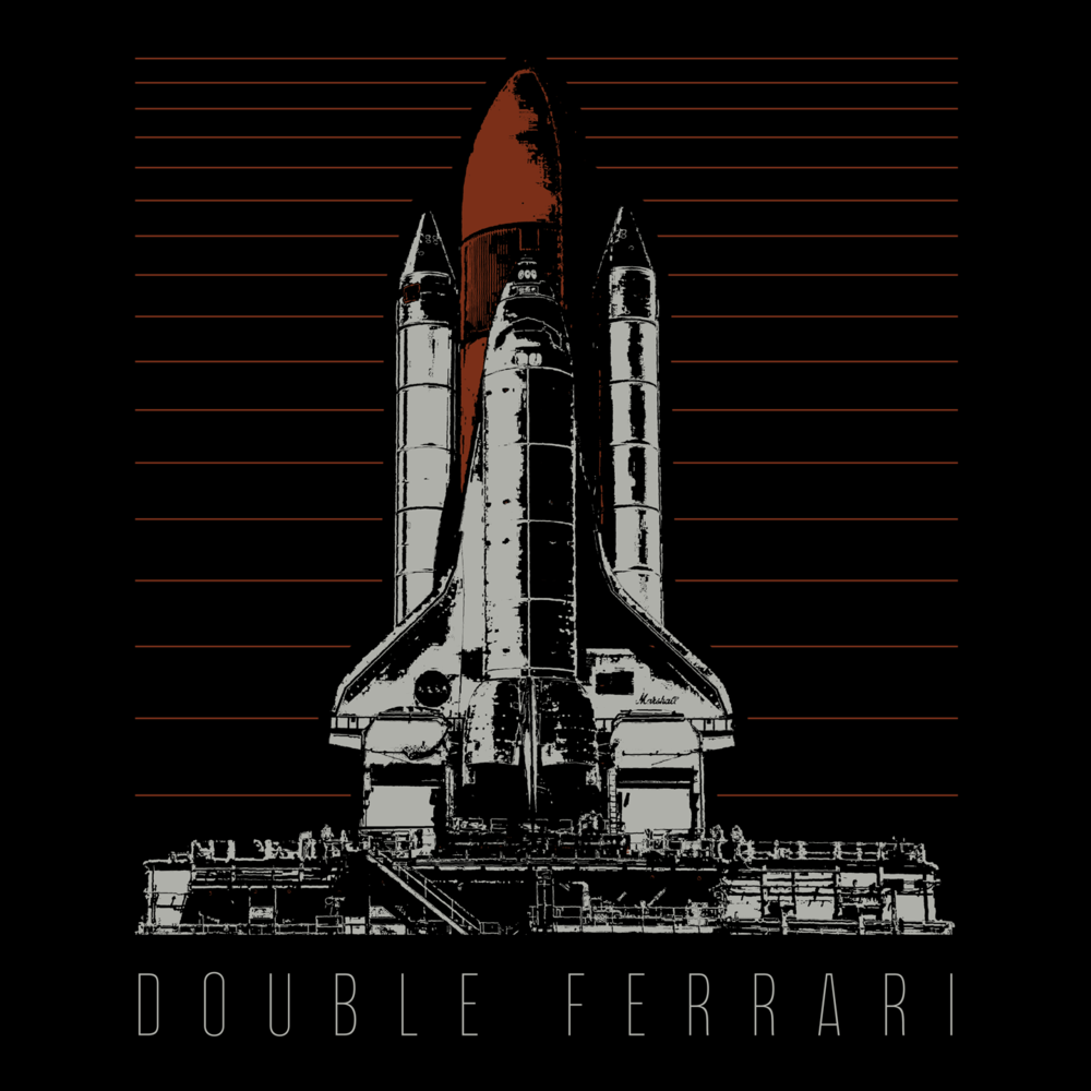 """Double Ferrari  Shirt Design    Photoshop.   Worked with Jace Bartet from the band to design this shirt. His request was, """"Like a NASA shirt from the 80s, but even more rock and roll."""" I think we nailed it, and the first printing sold out almost immediately.  Summer 2017."""