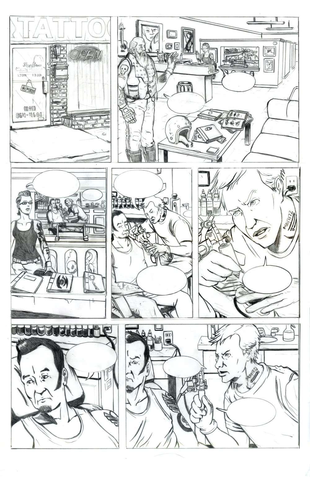 Tattoo Parlor Attack Page 1 Pencils.jpg