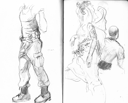 Cargo pants and combat boots are lots of fun to draw.