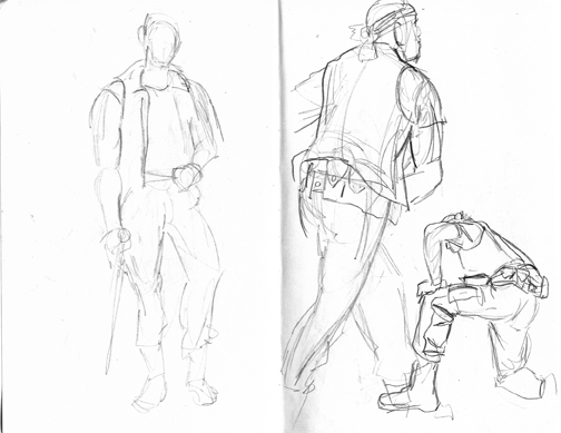 These were the first drawings. These poses lasted for 5 minutes, I think. I started out a little rusty, but the one all the way on the right is my favorite.