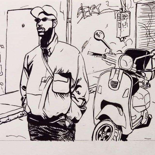 Some more #inking practice  #art #drawing #sketch #sketchbook #penandink #blackandwhiteart #moped #dailysketch #sketchdaily #sketchdailies #artistsoninstagram #brushpen #figuredrawing