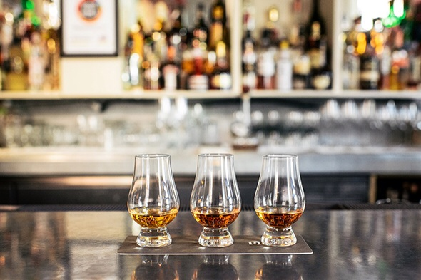 A bourbon flight at Proof on Main in Louisville, Kentucky Photo by: Proof on Main