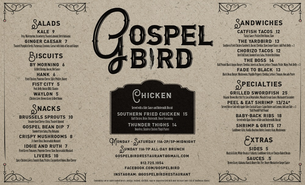 A refresh to the dinner menu for our friends at Gospel Bird restaurant in New Albany.