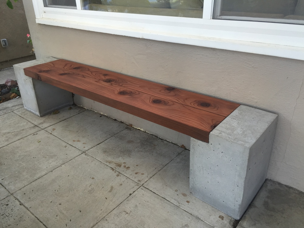 Modern Concrete and Redwood Bench