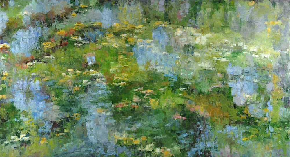 Pond Reflections III, oil, 46x84 (featured in recent solo show in Santa Fe, July 2018)