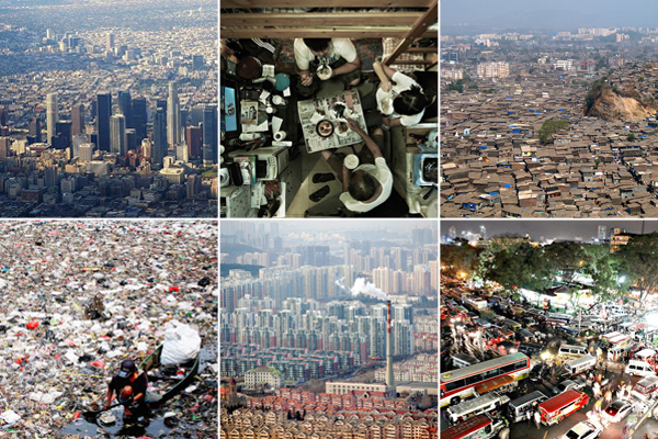 Mega-cities clockwise from top left:  Los Angeles, Hong Kong, Mumbai, Manila, Qingdao, Jakarta.