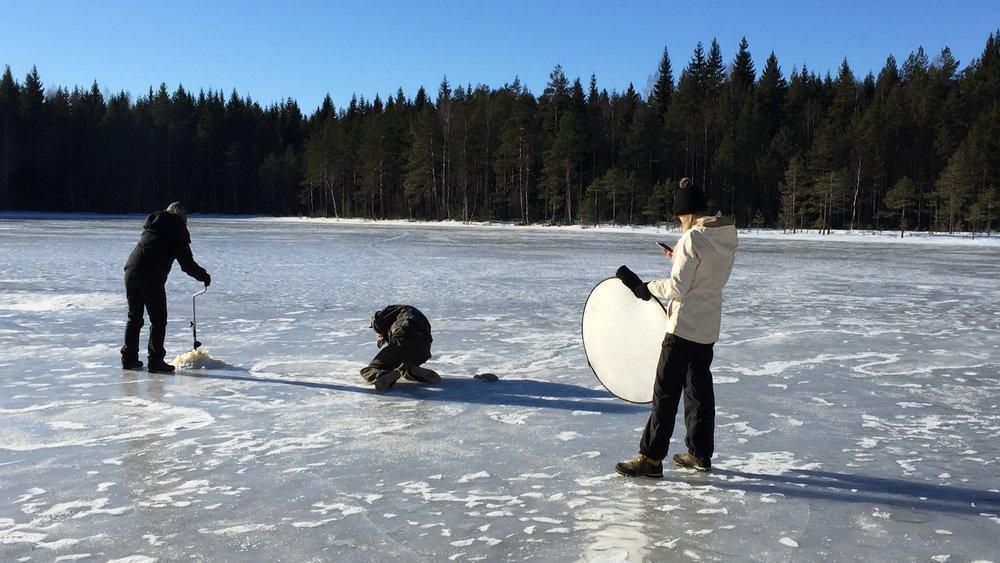 Kairauskuvauksia Råmossan järvellä in action.
