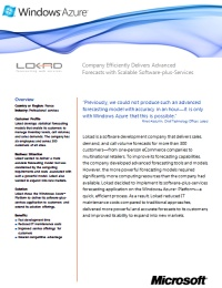 Reduced first page of the Microsoft case study on Lokad