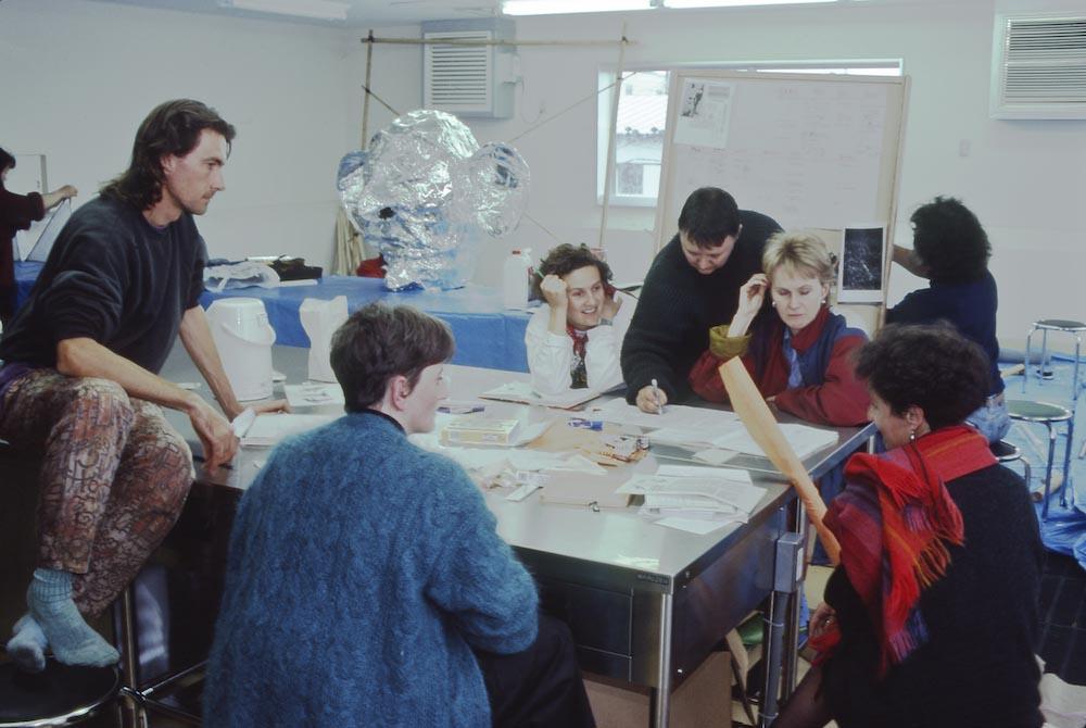 The Waderbirds team of artists plan the Japanese performance in the Sushi Kitchen, Kushiro - Tim Newth, Kate Clere, Liz Pain, Meme McDonald, Nell White and Beth Shelton